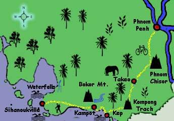 Cambodia Tour map
